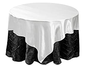 """72x72"""" Square SATIN Table Overlays Linens - White"""