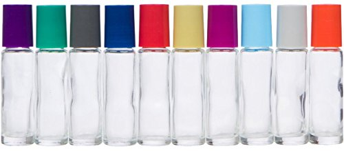The Root and Petal Set of 10 Multicolored Glass Roller Bottles for Essential Oils