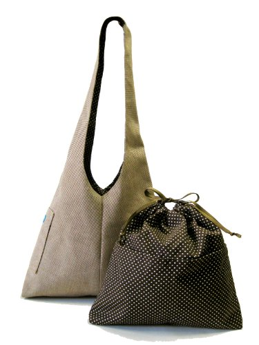 K2L&D2 SUN MochaChino '08 Polka Dots Lining of Katty TESAGE tote bags, comes with Purse Insert (Drawstirng Organizer), Sunbrella (Water-proof), Hobo Style