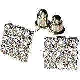 Mens bling multi Ice Crystal 9mm square stud earrings