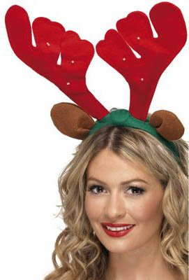 "15"" Musical Led Light-Up Reindeer Antler Christmas Costume Headband"