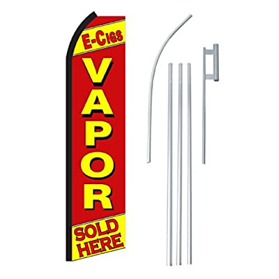 "NEOPlex - ""E-Cigs Vapor Sold Here"" Complete Flag Kit - Includes 12' Swooper Feather Business Flag With 15-foot Anodized Aluminum Flagpole AND Ground Spike"