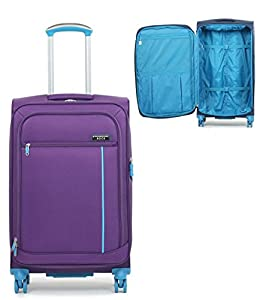 Ultra Light Expandable 4 Wheeled Spinner Luggage Suitcase Soft Case R2B1 Purple