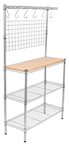 Internet's Best 3-Tier Baker's Rack | Chrome | Kitchen Storage Shelving | Adjustable Wire Stand with Removable Cutting Board and 6 Hanging Hooks (Bakers Board compare prices)