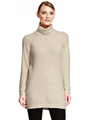 Autograph Roll Neck Knitted Tunic with Angora