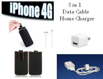 Brand New 3 in 1 Super Deal Original Data Cable USB Charger + Iphone Leather Slip-in case (RED)
