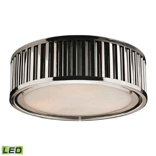 Linden Collection 3 Light Flush Mount In Polished Nickel - Led, 800 Lumens (2400 Lumens Total) With Full Scale Dimming Range, 60 Watt (180 Watt Total)Equivalent , 120V Replaceable Led Bulb Included.