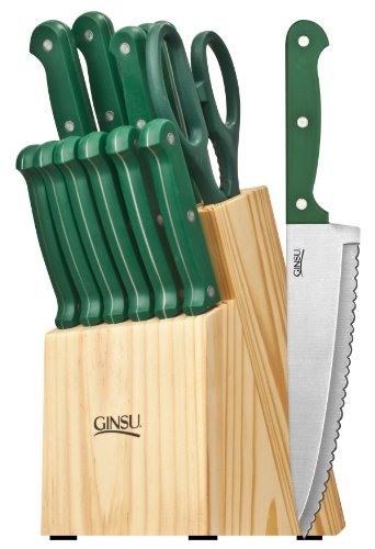 Ginsu 3877 Essential Series 14-Piece Cutlery Set with Natural Block, Green