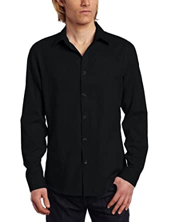 Calvin Klein Sportswear Men's Slim Fit Long Sleeve Chambray Shirt,Black Carbon,Small