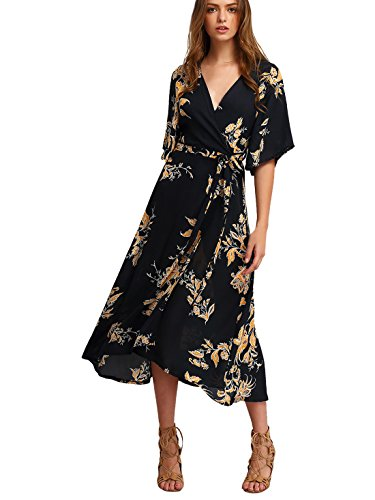 Milumia Women's Boho Deep V Neck Floral Chiffon Wrap Split Long Dress Black L