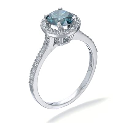 14K White Gold Blue Diamond Engagement Ring (1.30 CT) In Size O