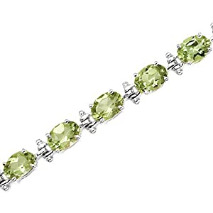 14K White Gold 13 1/2 ct. Peridot Bracelet
