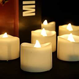Youngerbaby Warm White Flickering LED Flameless Candles with Timer Function - 24 Pieces