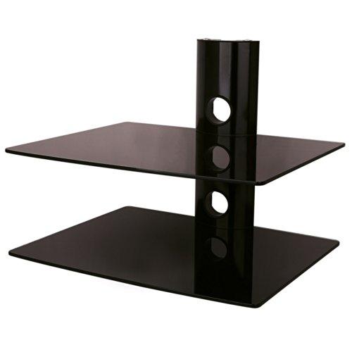 NEG-Multimedia-TV-Rack-SUSPENDER-502B-schwarz-mit-2-Glas-Ablagen-extra-gro-15kg-pro-Ablage-und-Kabelmanagement-System