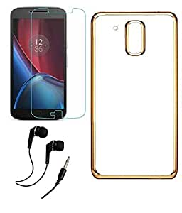 Deparq Transparent Back Cover For Moto G Plus, 4th Gen With Tempered Glass Screen Protector & 3.5mm Earphone