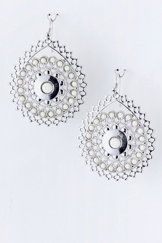 Baubles & Co Beaded Metal Earrings (White) front-1051391