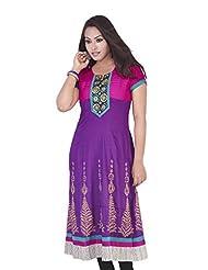 Rucchi By Praveen Women's Cotton-Rayon Purple Kurti - B00SG4HK0U