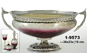 Exclusivas Camacho - Centro de cristal y metal en blanco y malva