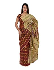 A1 Fashion Women Cotton Red Saree With Blouse Piece