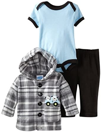 Bon Bebe Baby-boys Newborn Old Fashioned Pickup Truck Micro Fleece 3 Piece Hooded Jacket Set, Multi, 6-9 Months