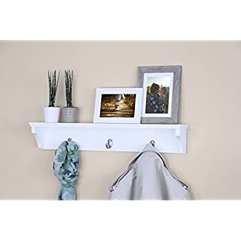 "Ballucci Coat and Hat Wall Mount Shelf Rack, 3 Metal Hooks, 24"", White"