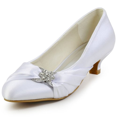 ElegantPark EP2006L Women's Comfortable Closed Toe Low Heel Rhinestones Ruched Satin Wedding Bridal Shoes White US 8