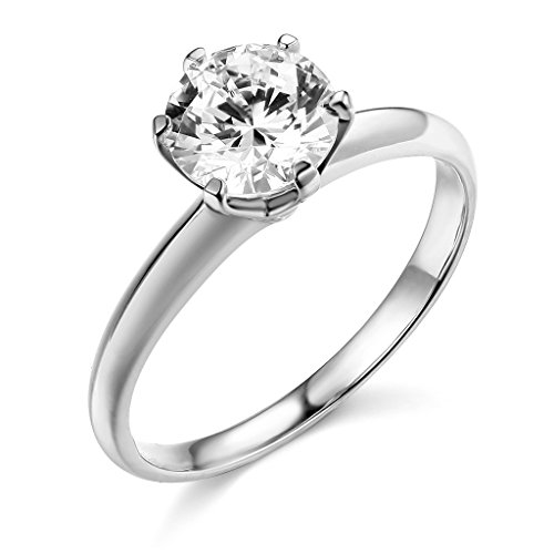 14k White Gold SOLID Wedding Engagement Ring - Size 9