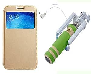 Novo Style Samsung GalaxyJ7 Window View Premium Folio Flip Cover Case W Stand View+ Wired Selfie Stick No Battery Charging Premium Sturdy Design Best Pocket SizedSelfie Stick