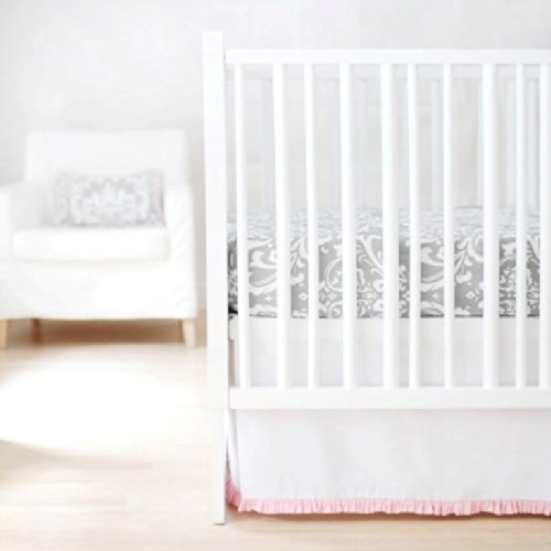 New Arrivals Sweet and Simple Crib Bedding Set, White/Pink, 2 Piece