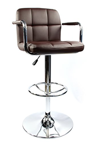 Wrigley Adjustable Height Chrome Swivel Bar Stool with Arms (Brown) Height Adjustable Arms