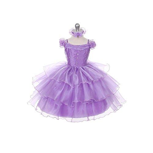 Rain Kids Lilac Organza Ruffle Sequin Flower Girl Dress Girl 4T front-360025
