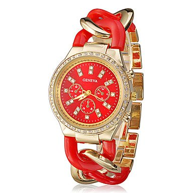 Elegant Women Geneva Brand Diamonds Gold Dial Stainless Steel Chain Analog Wristwatch Ladies Dress Rhinestones Bracelet Watch Christmas Gift - Red front-792097
