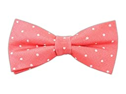 Coral Dotted Dots Patterned Linen Self-Tie Bow Tie