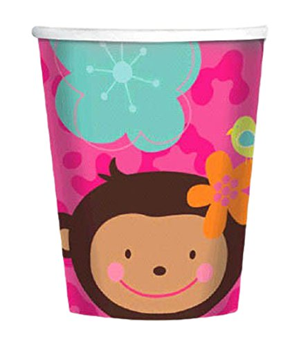 Amscan Sweet Monkey Love Birthday Party Paper Cups (8 Piece), Pink, 9 oz - 1