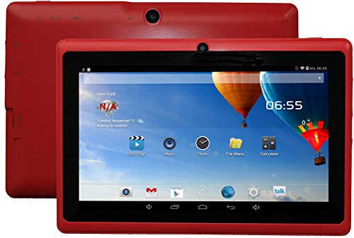 DanCoTek 7 Android4.4.2 Dual Core 1.5GHz A23 CPU Bluetooth WiFi Dual Camera Capacitive Touch 800*480 External 3G Compatible 512MB 4GB Tablet PC (Red)