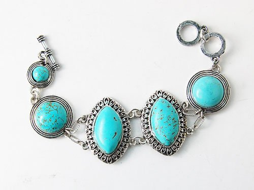 Ethnic Inspired Tribal Faux Turquoise Marquise