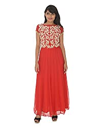 Gurpreet Kaur Women Brocade & Georgette Dress (TU010, Red, 38)