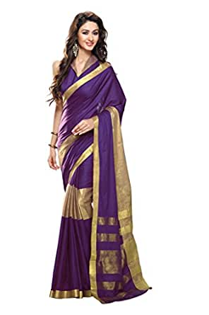 ISHIN Cotton Purple Saree available at Amazon for Rs.3049