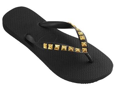 Amazon.com: Dini's HAVAIANAS Fashion Jeweled Flip Flops, Metallic