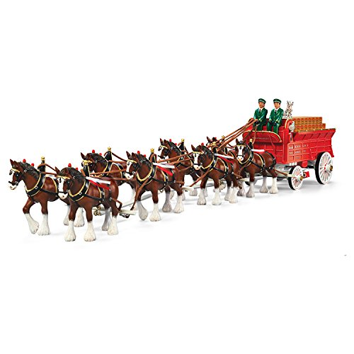 Budweiser Clydesdales Sculpture With Horses And Wagon: Bradford Exchange by Hawthorne Village