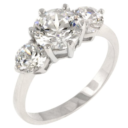 White Gold Bonded Rhodium Bonded CZ Anniversary Triplet Ring