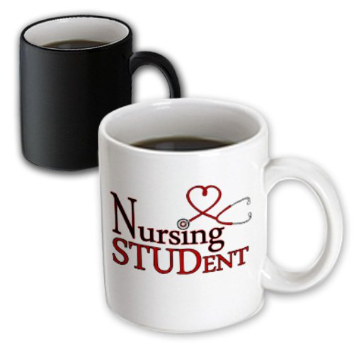 3Drose Mug_172126_3 Nursing Student Red Heart Stethoscope Magic Transforming Mug, 11-Ounce