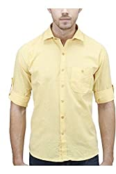 Unixx Men's Casual Shirt (UXXS-04_Yellow_40)