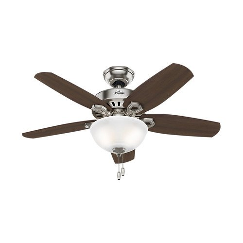 Hunter Fan Company 52219 Traditional Builder Small Room Brushed Nickel Ceiling Fan With Light, 42