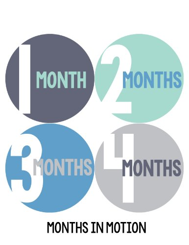 Months in Motion 298 Baby Month Stickers for Newborn Boy Blue Green