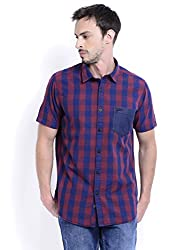 Sting Maroon Check Slim Fit Half Sleeve Cotton Casual Shirt For Men