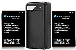[2 Batteries + Charger] TrendON LG G3 2 X 3000 mAh [Long Lasting] Spare Replacement Li-ion Battery Combo with Portable USB Travel Wall Charger [18-Month Warranty] (LG G3 2 Batteries 1 Charger)