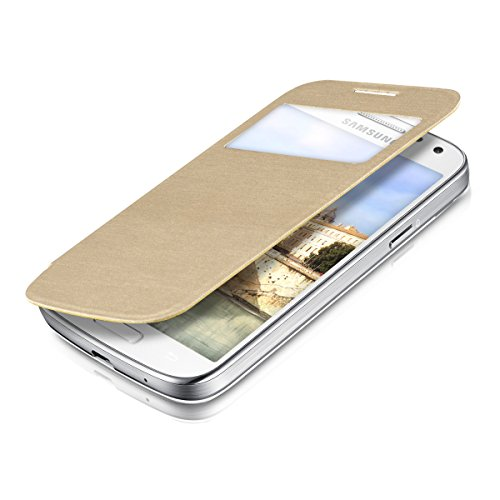 kwmobile フリップスタイル保護カバー Samsung Galaxy S4 Mini i9190 / i9195用 ゴールド - ふた付きフリップカバー