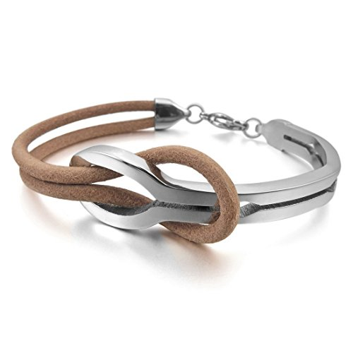 Men,Women'S Stainless Steel Genuine Leather Bracelet Bangle Cuff Brown Silver Infinity Love Sign Elegant