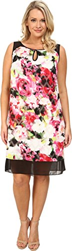 Adrianna Papell Women's Plus-Size Sleeveless Swing Dress, Ivory/Multi, 22W
